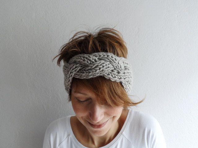 Knitted Headband Chunky Headband Ear Warmer Cabled Headband Head wrap ...