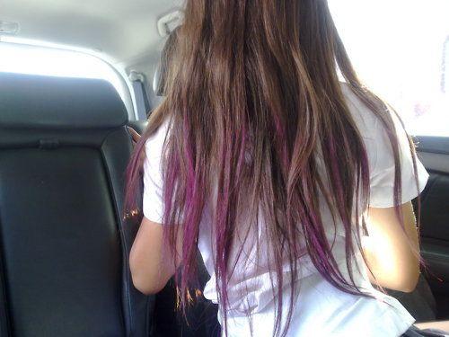 Dark brown hair with purple dip dye