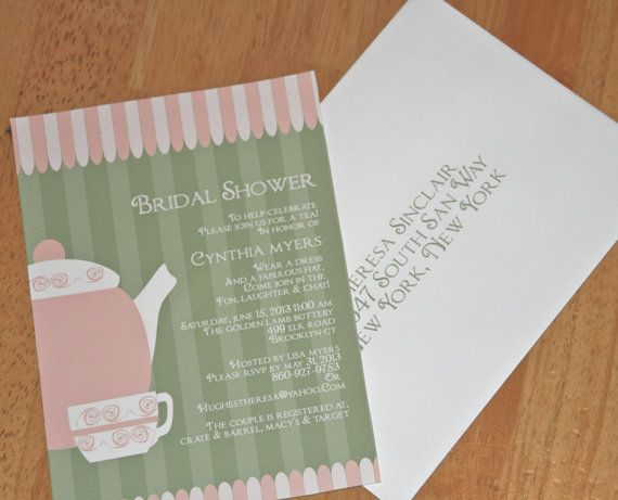 Bridal Shower Tea Party Invitation with rsvp card by MailMyHeart, $2 ...