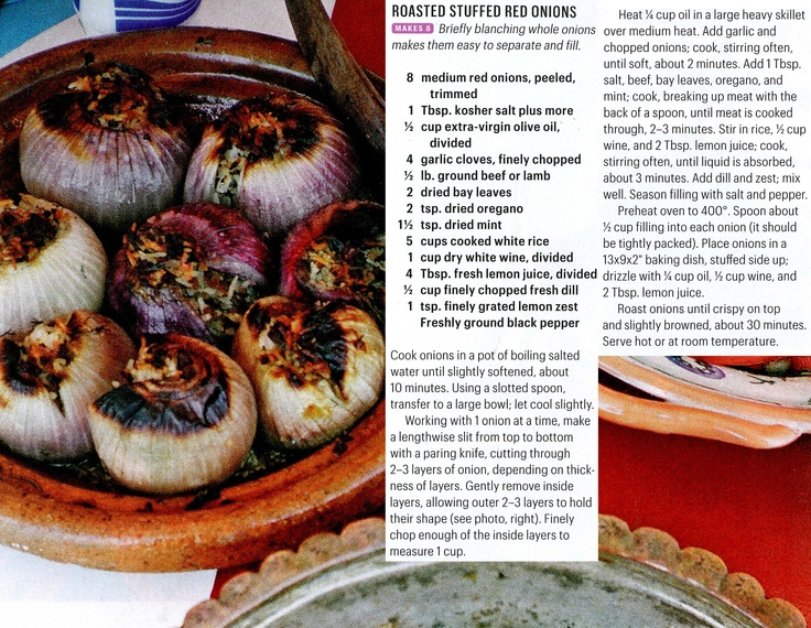 Roasted stuffed red onions | Recipes | Pinterest