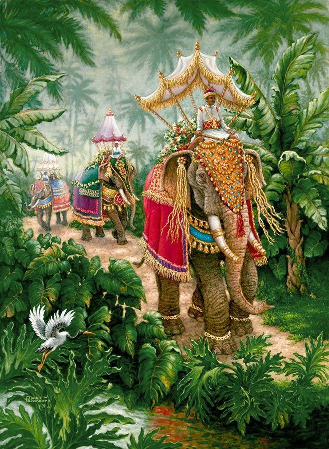 Слоны фестиваль связан, масляной живописи ярко оформленные слонов время ездил на фестиваль, один из оригинальных Нефть Джанет Kruskamp в ...