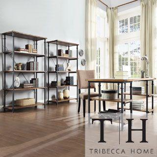 Tribecca Home Myra Vintage Industrial Modern 3-piece Desk and 40-inch