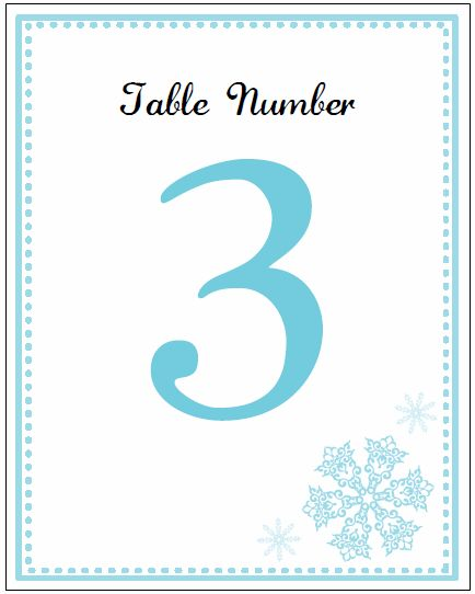 Table Card Numbers Printable Blue Snowflake Wedding Invitations Template Print And Create Your
