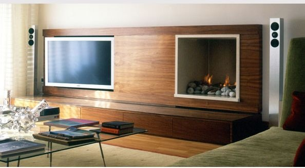 tv next to fireplace and adjustable inside