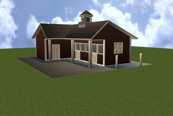 Two stall horse barn plan barn ideas pinterest 2 stall horse barn