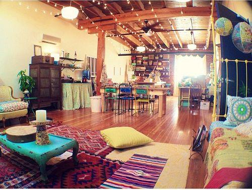 Hippie bedrooms hippie room home sweet home pinterest for Art studio bedroom ideas