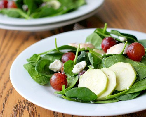 Spinach salad with warm honey mustard dressing