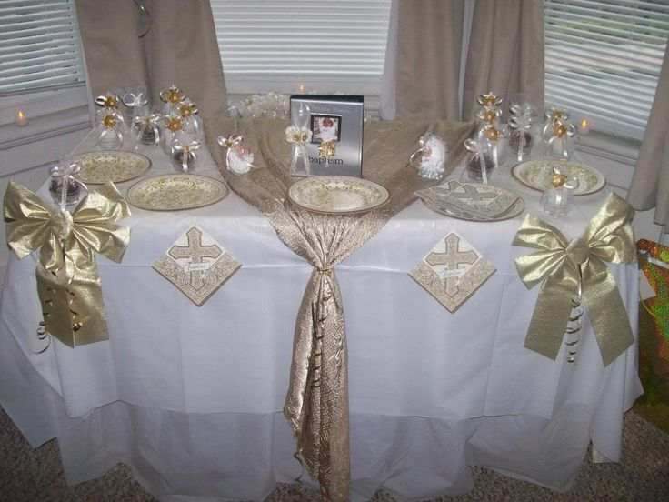 Christening table decorations pic 13 baby girl for Baby christening decoration ideas