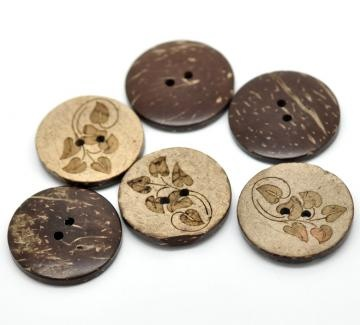 6 Brown Leaf pattern Coconut Shell Buttons 28mm  by AnnyMay for $3.50