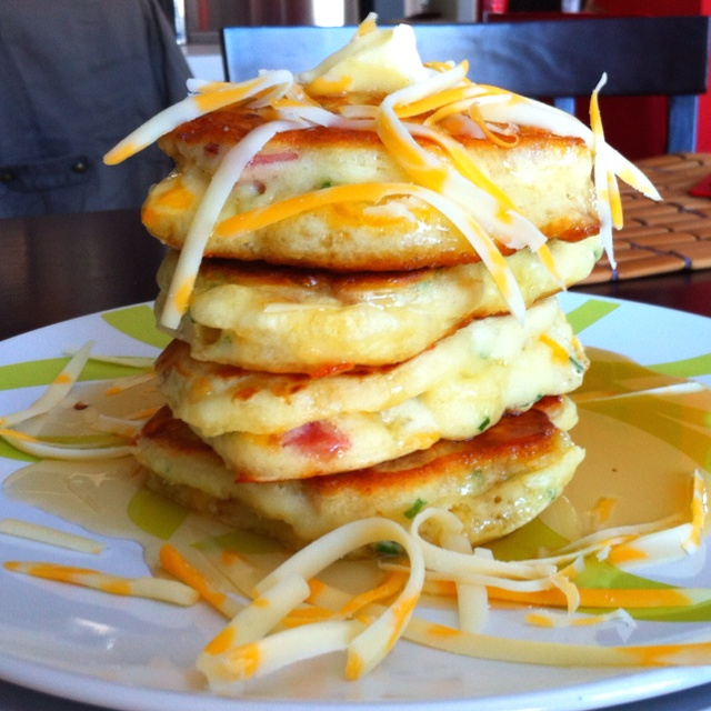 Bacon & cheddar pancakes topped with Quebec maple syrup. Seb Bouchard ...