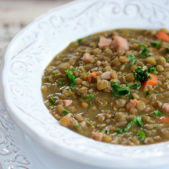 Lentil Soup with Kale and Ham to keep you warm this winter.