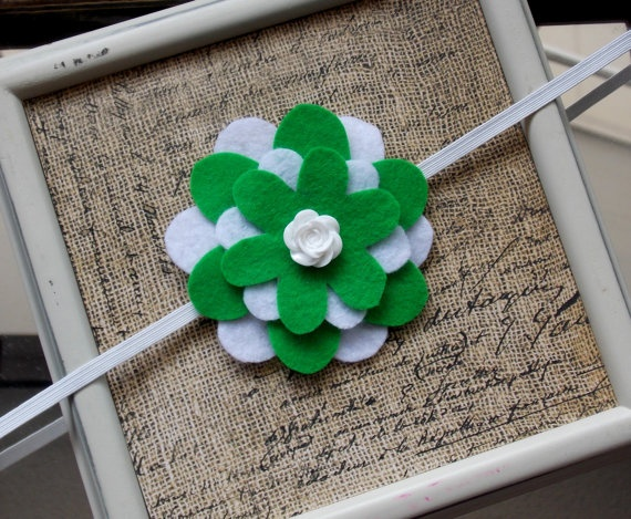 Green and White Stacked Felt Flower Headband by SweetTBabyBoutique, $6 ...