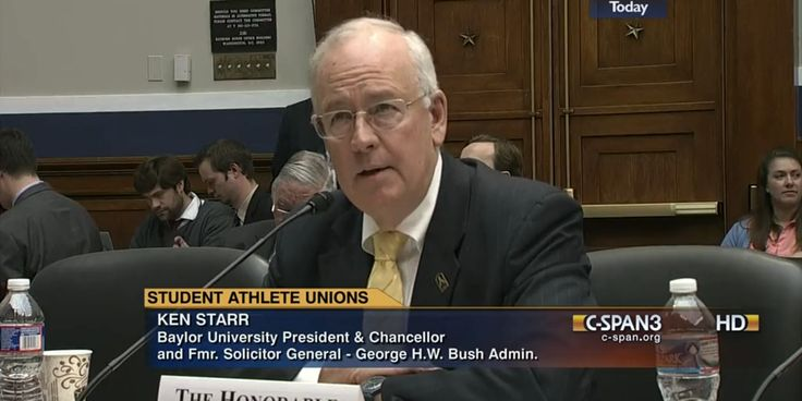 #Baylor President Ken Starr was one of five expert witnesses invited to testify before a House committee last week on college athlete unionization, joining Stanford's athletic director, an economist, a lawyer, and a former Notre Dame football player.