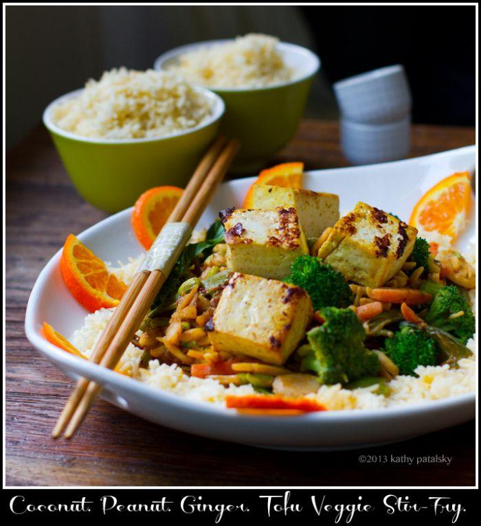 Ginger-Peanut-Coconut Veggie & Tofu Stir-Fry over Rice. #vegan #dinner