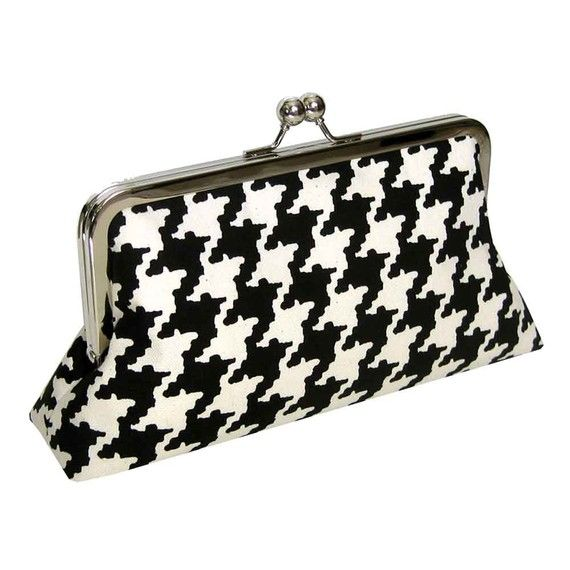 Classic Clutch  Modern Houndstooth  Red Silk Lining by Upstyle, $65.00