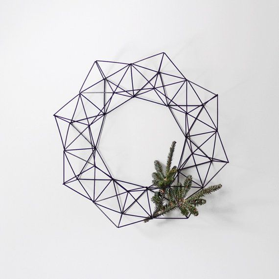 Large Himmeli Wreath / Modern Geometric Wall Sculpture by HRUSKAA, $100.00