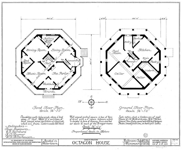 Watertown Octagon House Floor Plans Drawn Circa 1935