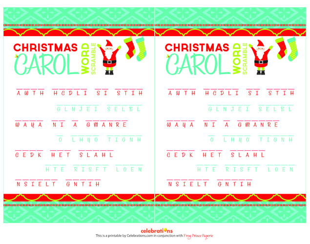 Christmas Carol Scramble With this Christmas party game, you better ...