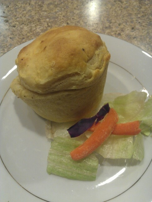 Mini Chicken Pot Pies: Pilsbury Jr. Biscut at the base and pressed up ...