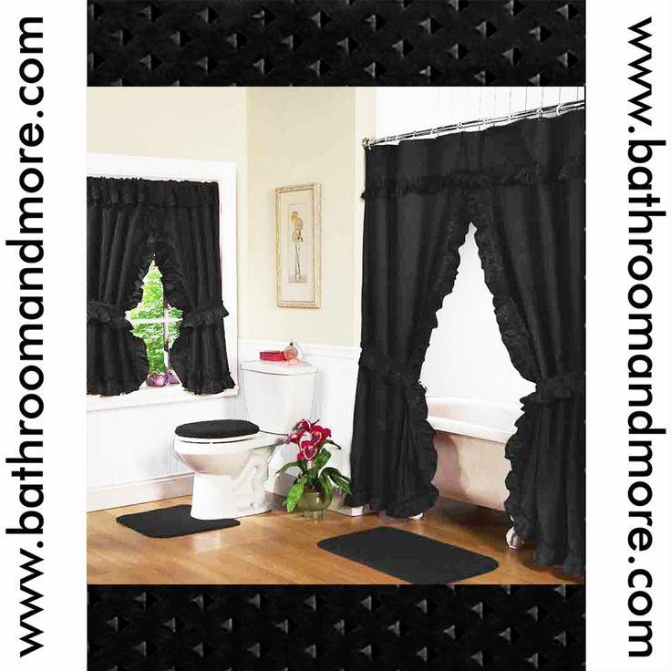 ... Double Swag Shower + Window Curtain w/ 4 Tie Backs/Hooks: BLACK