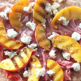Grilled Peach Pizza with Prosciutto, Goat Cheese, & Arugula