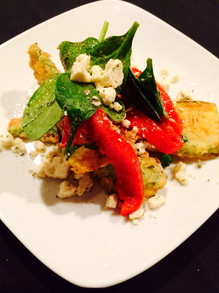 Fried zucchini with roasted red peppers, tomato basil feta cheese ...