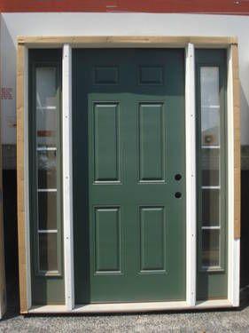 36 quot prehung fiberglass entry door with sidelights 6 panel left hand
