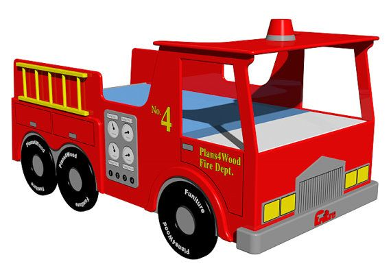 Digital download fire truck twin size bed woodworking plan - Fire engine bed plans ...