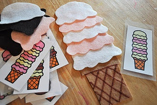 Ice Cream Color Patterning - Preschool Activity w/ felt