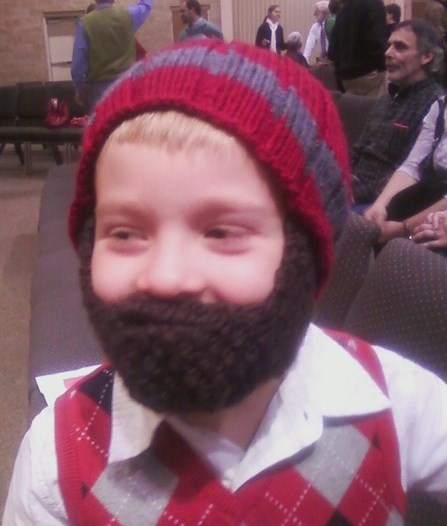 Free Knitted Beard Pattern : Beard Hat for Kids - hilarious!! Im in Stitches...knitting Pinte?