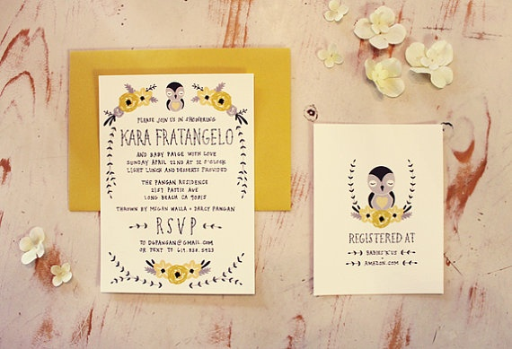 baby shower invitation registry card baby bird by kelli murray art