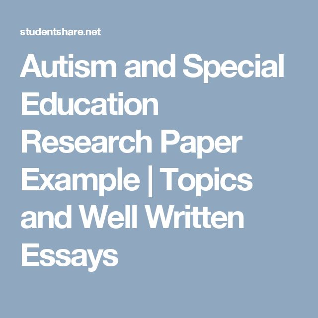Special education research paper