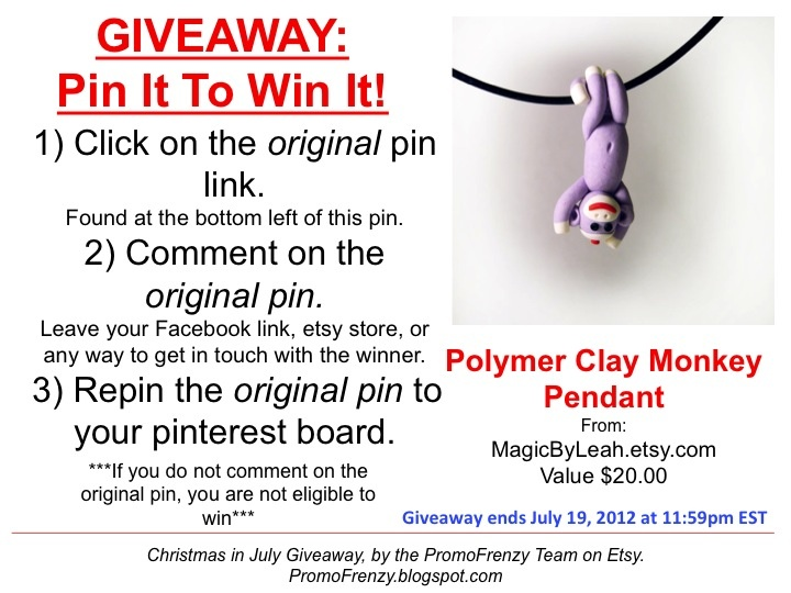 GIVEAWAY - Pin It To Win It: To Win This Item from MagicByLeah.etsy.com - follow the instructions: Click on ORIGINAL pin, comment leaving a way to contact you, REPIN the ORIGINAL Pin! Contest ends 7/19/12 @ 11:59pm EST. Winner announced 7/20/12.