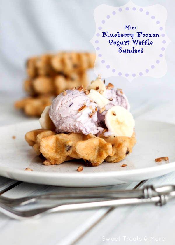 Mini Blueberry Frozen Yogurt Waffle Sundaes