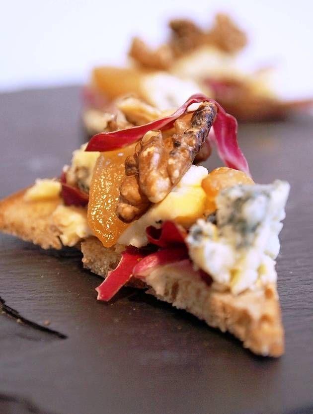 Stilton, radicchio, honey roast pears and toasted walnuts on croutes ...