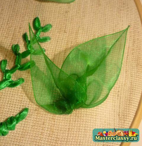 Вышивка лентами листья