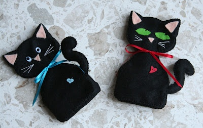miaoo gatti neri in feltro  black felt cat  chat noir
