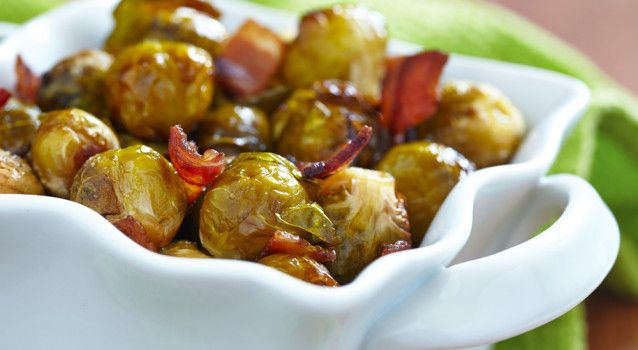 roasted brussels sprouts with bacon; add fresh thyme, lemon juice and ...
