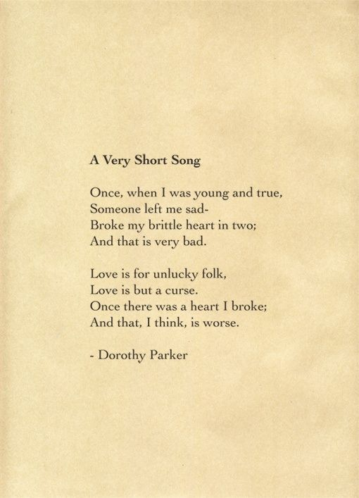 dorothy parker resume poem Famed for her caustic wit, dorothy parker was born in 1893 in new jersey and  was known from an early age for her uncompromising character her mother died .