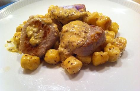 Pork Medallions and Gnocchi, served with a Creamy Cider and Mustard S ...