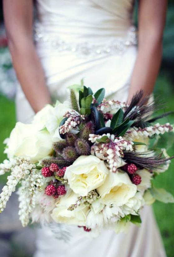 vine bridal bouquet roses