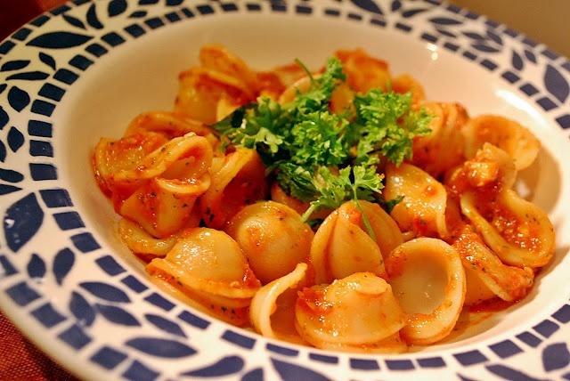 Orecchiette With Bacon And Tomato Sauce Recipe — Dishmaps
