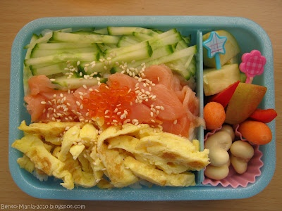 Chirashi-Sushi with smoked salmon, omelette, cucumber and caviar