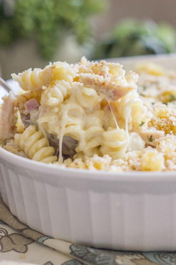 Chicken Cordon Bleu Pasta Bake - creamy pasta, melty swiss cheese ...