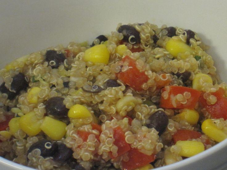 Black Bean Quinoa Salad 3 cups water 1 1/2 cup quinoa 2/3 can of black ...