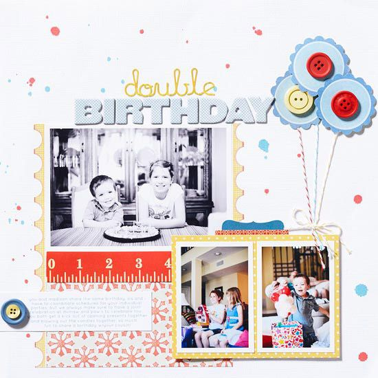 Double Birthday Page - balloons