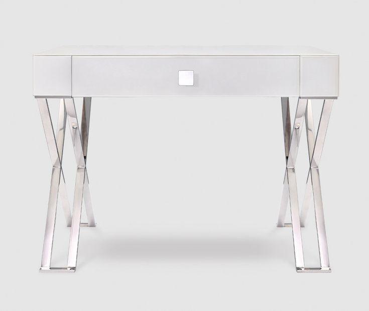 Zurich White Glass & Chrome Dressing Table