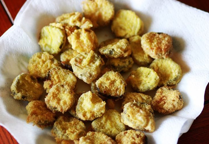 Fried Pickles! Yum I tried dill spears too Try this with apple slices ...