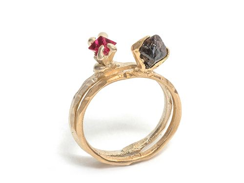 Tessa Blazey Ring: Lady Godiva 18ct yellow gold, 1.58ct rough octahedral diamond (right)