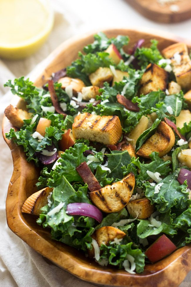 Panzanella Kale Salad with Apples, Bacon and Cheese Vinaigrette ...